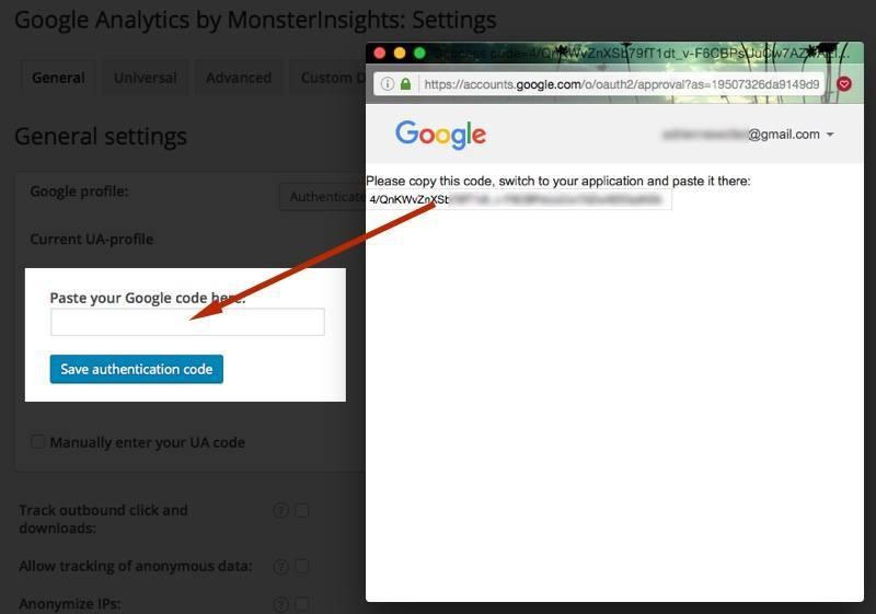 plugin de wordpress de google analytics autenticar final