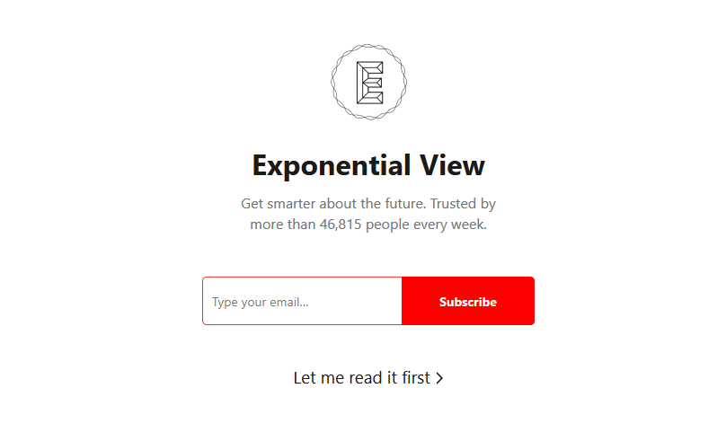 exponential view newsletter landing page