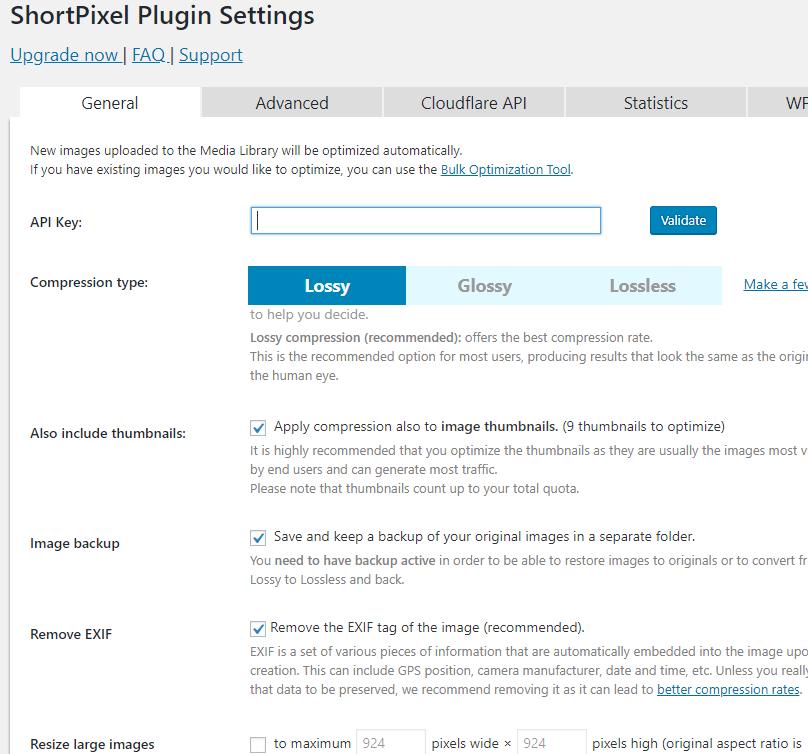 ShortPixel settings