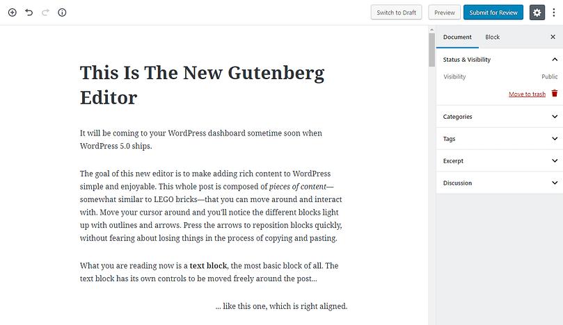 the new Gutenberg editor in WordPress 5.0