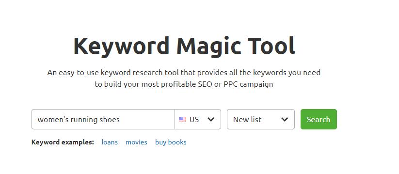 Using SEMRush to run a keyword search.
