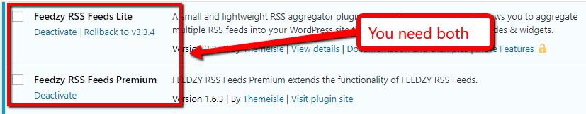 Install both Feedzy plugins