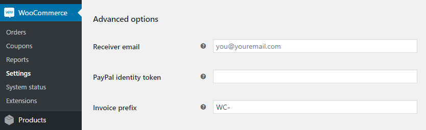 Configuring your WooCommerce PayPal settings.
