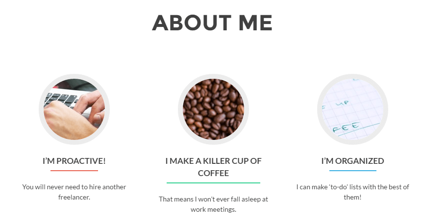 Our customized About Me section.