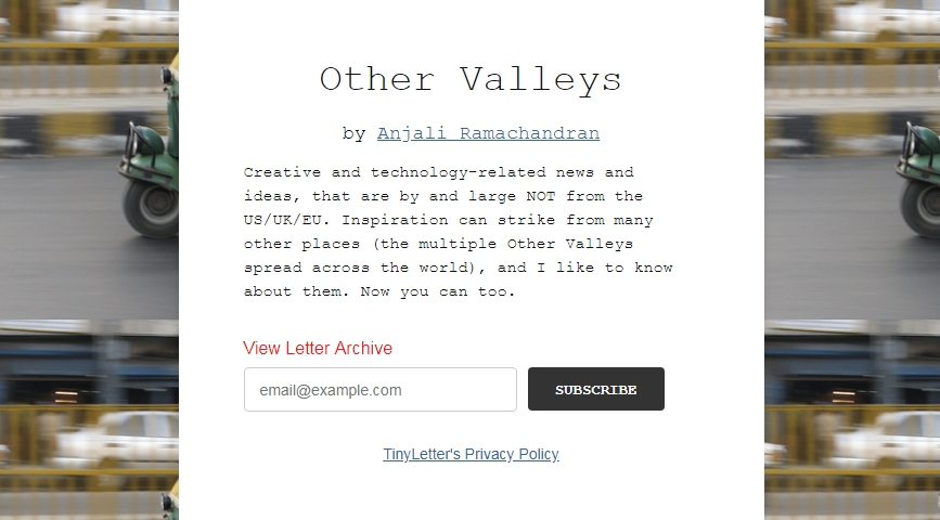 other valleys free newsletter subscribe page