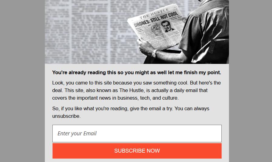 the hustle newsletter landing page