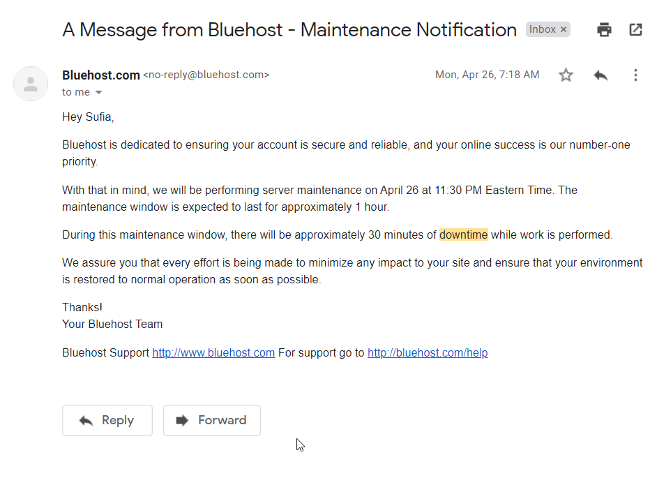 502 bad gateway error with WordPress can occur when servers are taken offline. Bluehost shares a maintenance email to prepare customers