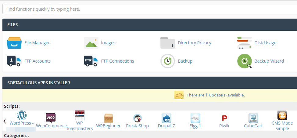 An example of a cPanel.