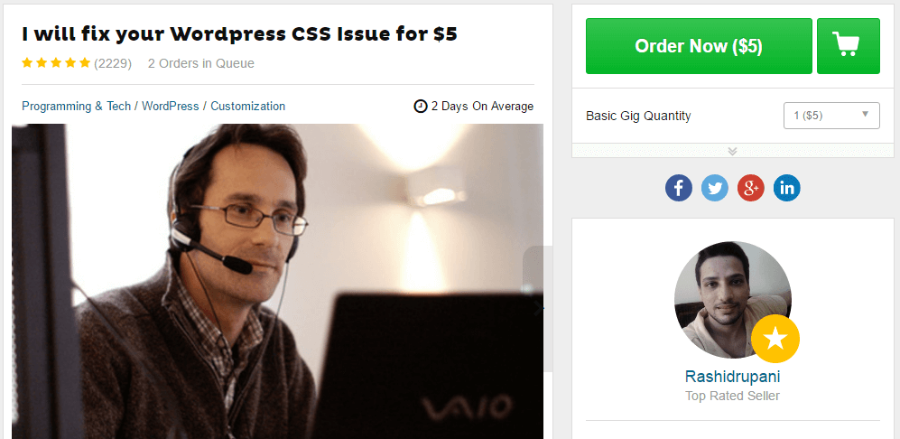 An example of a WordPress CSS customization gig.