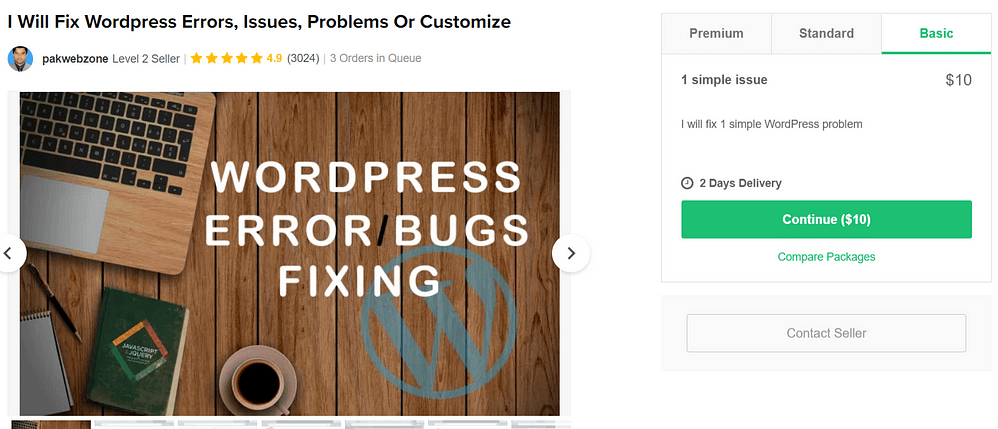 An example of a WordPress troubleshooting gig.