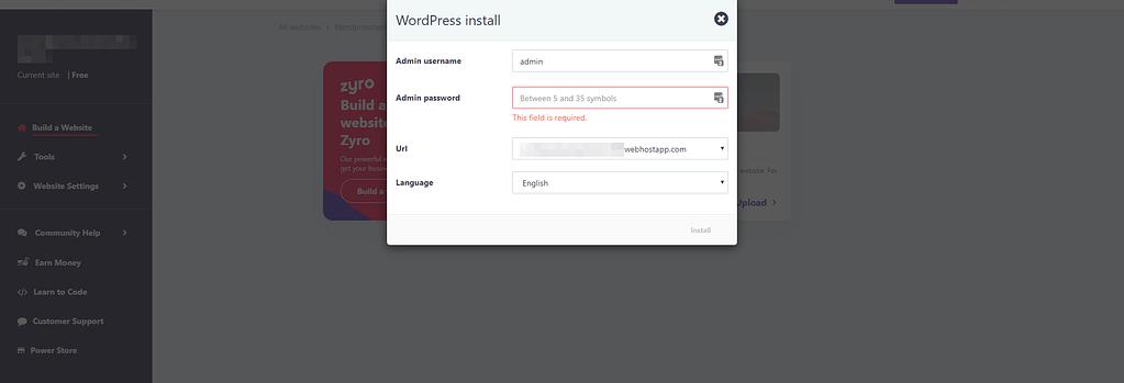 Installing WordPress on 000webhost.