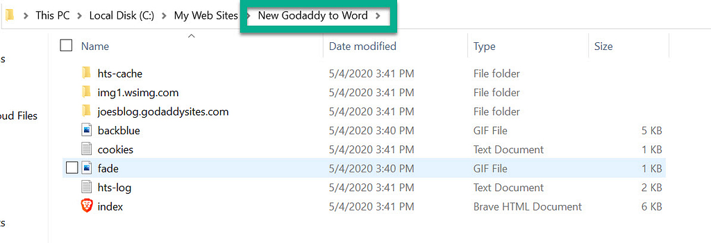 file location - GoDaddy Website Builder to WordPress