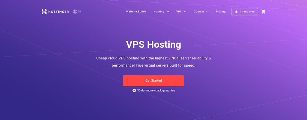 The Hostinger VPS hosting website.
