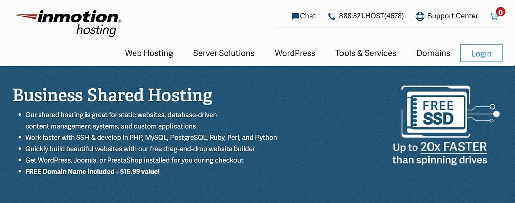 InMotion vs Bluehost: InMotion hosting homepage