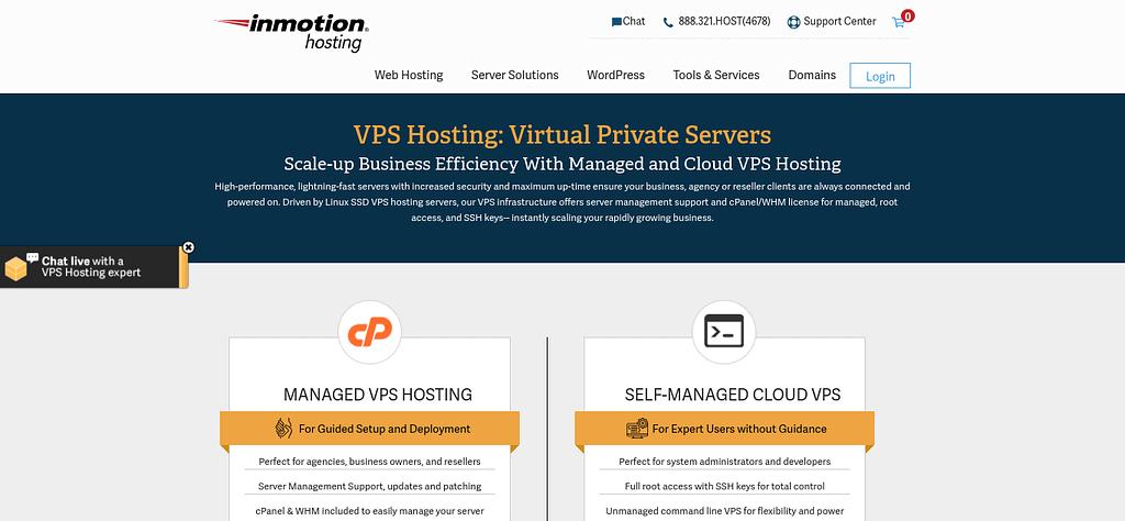 The InMotion VPS hosting website.