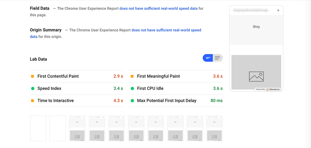 PageSpeed Insights results for a site hosted with 000webhost.