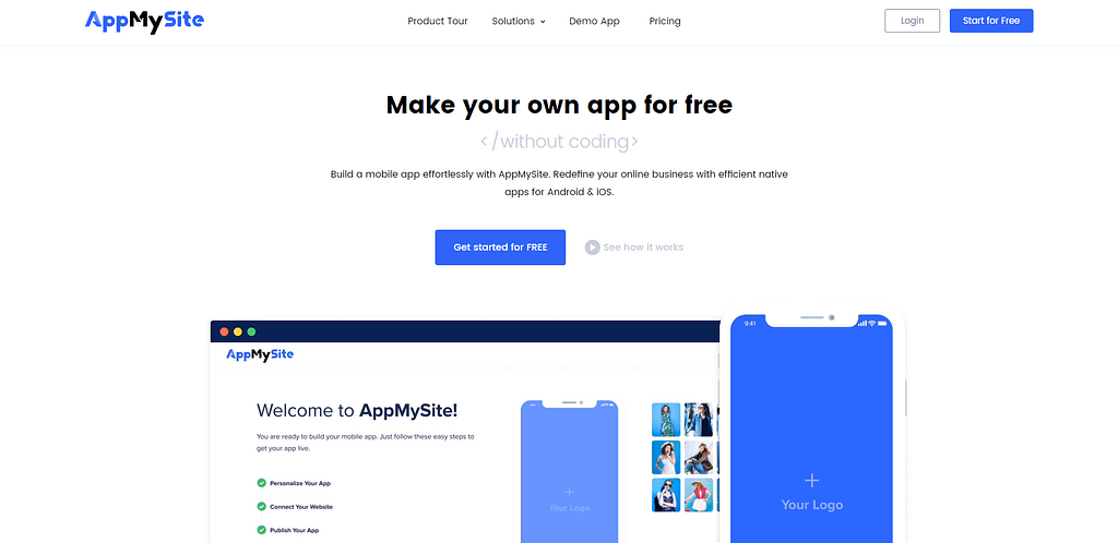 The AppMySite homepage of its WooCommerce app builder