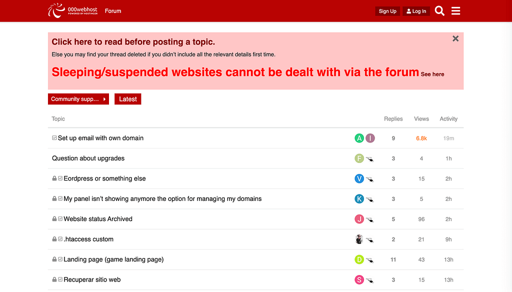 The 000webhost community support forums.