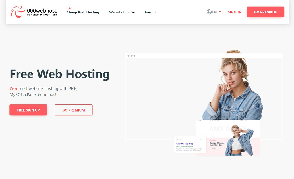 The 000webhost homepage.