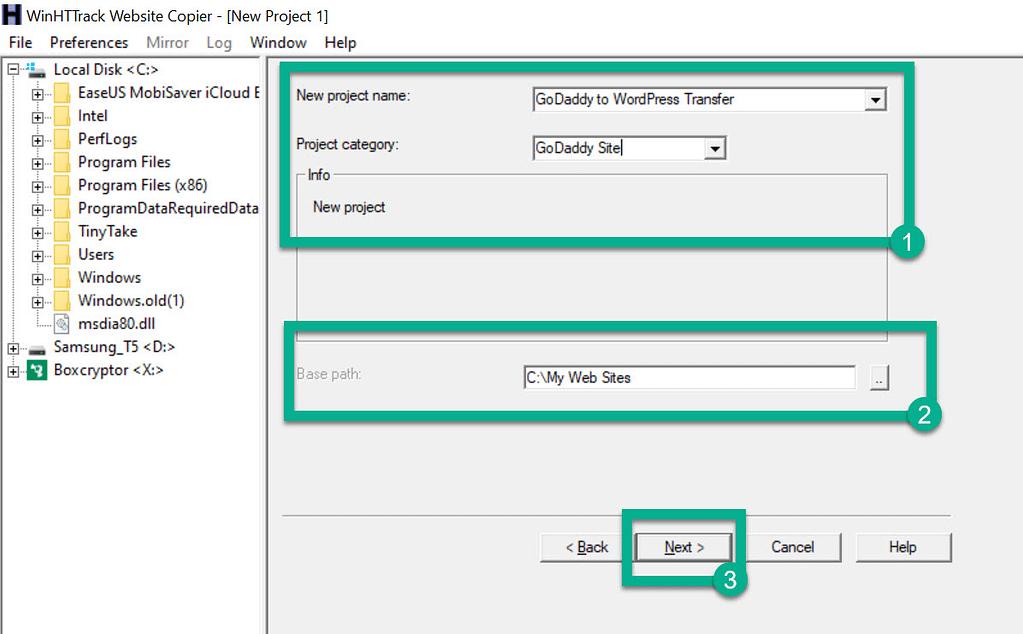 choose file names - GoDaddy Website Builder to WordPress