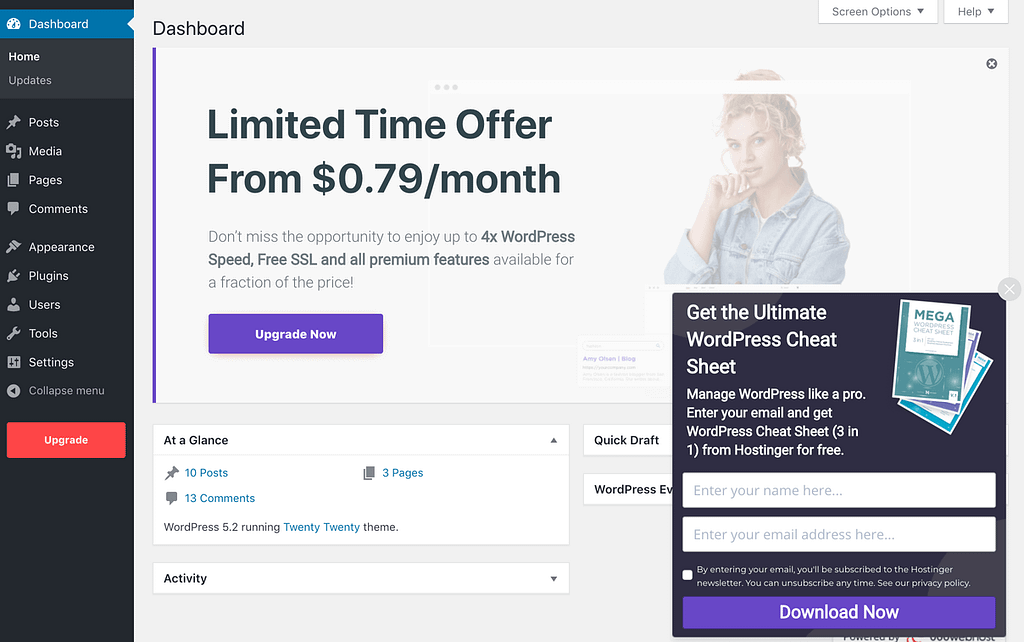The back end of a WordPress site hosted with 000webhost.