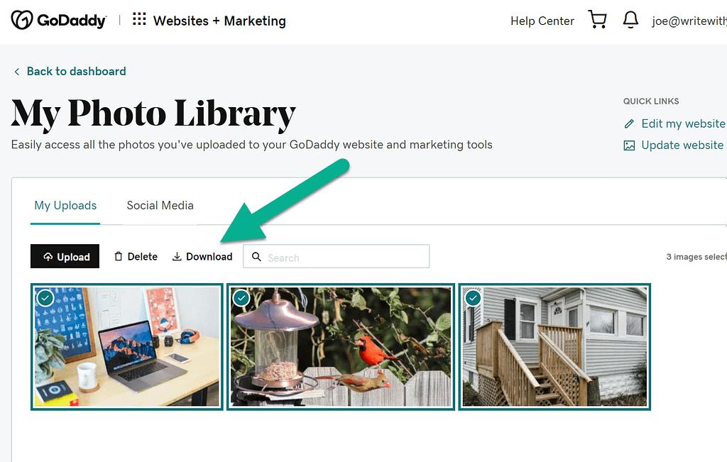 download library - GoDaddy Website Builder to WordPress