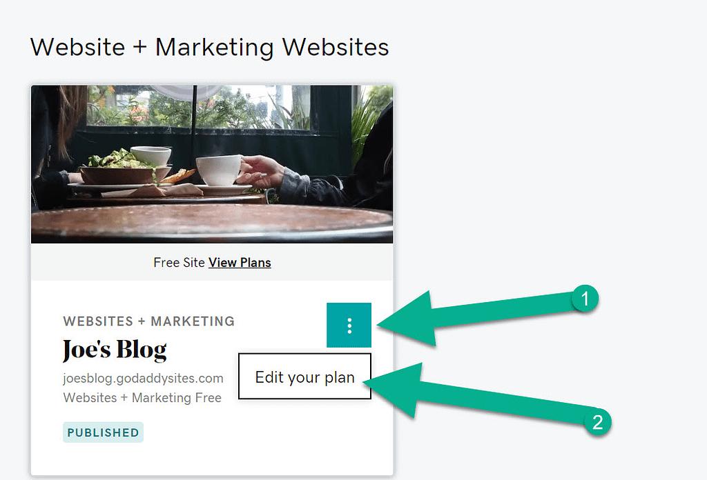 Edit Your Plan - GoDaddy Website Builder to WordPress