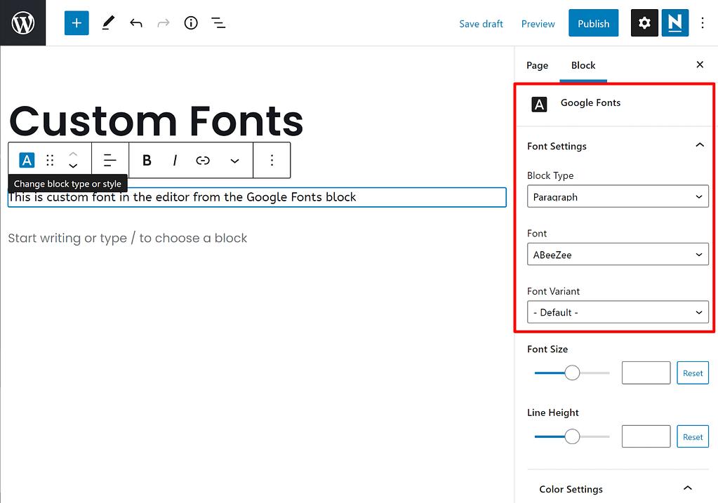 How to change WordPress font in block editor