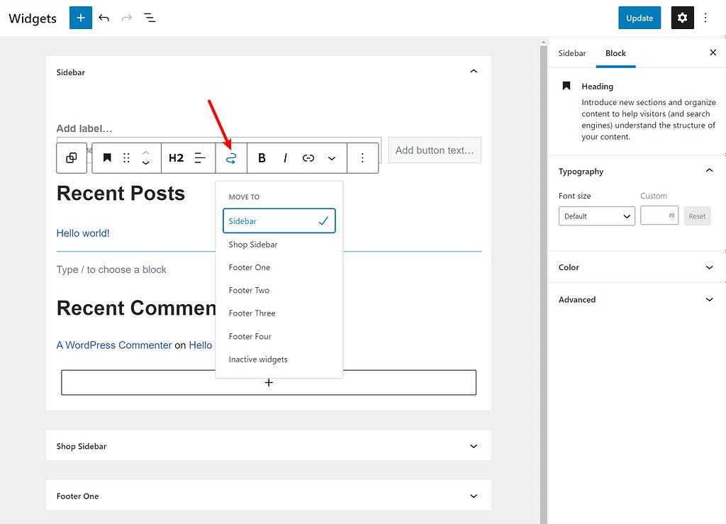 How to move blocks between different widget areas