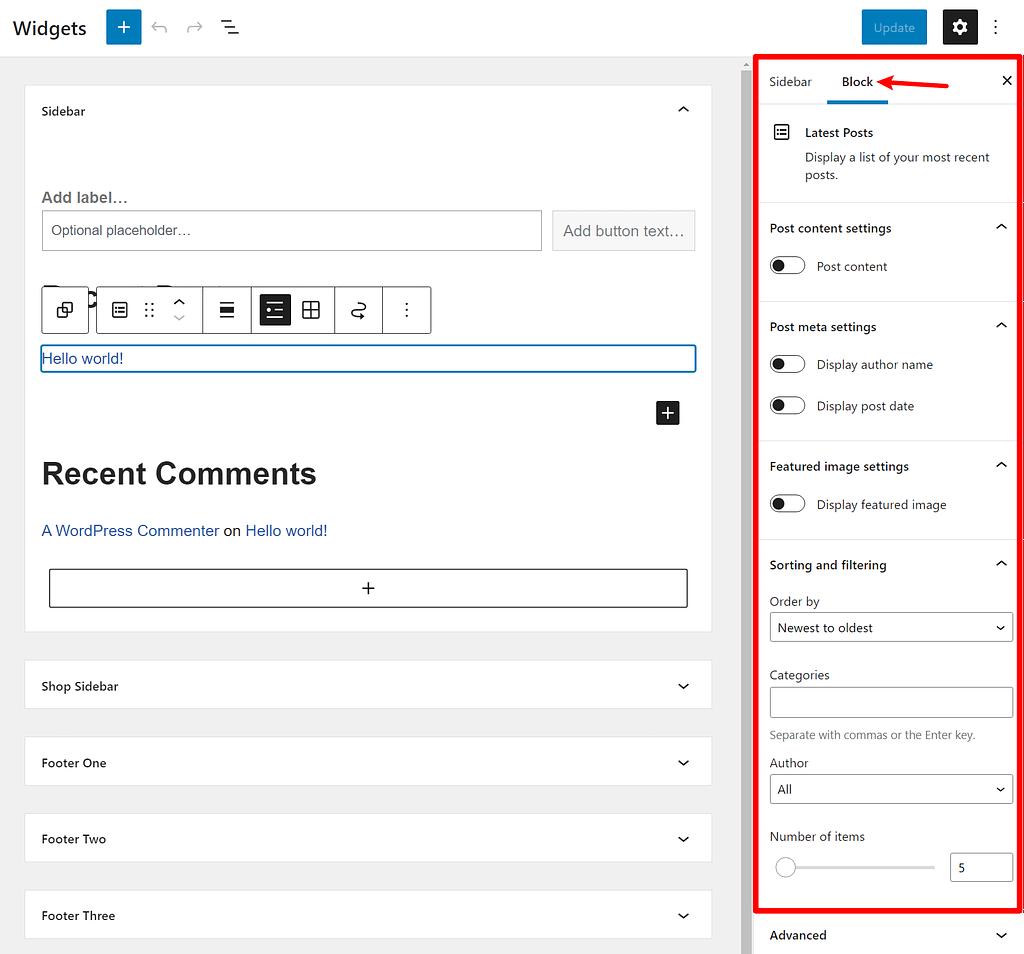 How to edit a block widget's settings