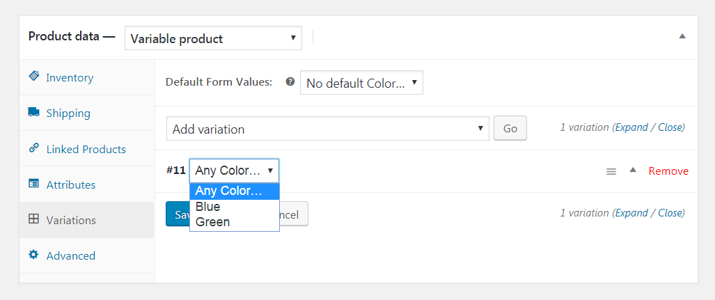 Adding WooCommerce variations.