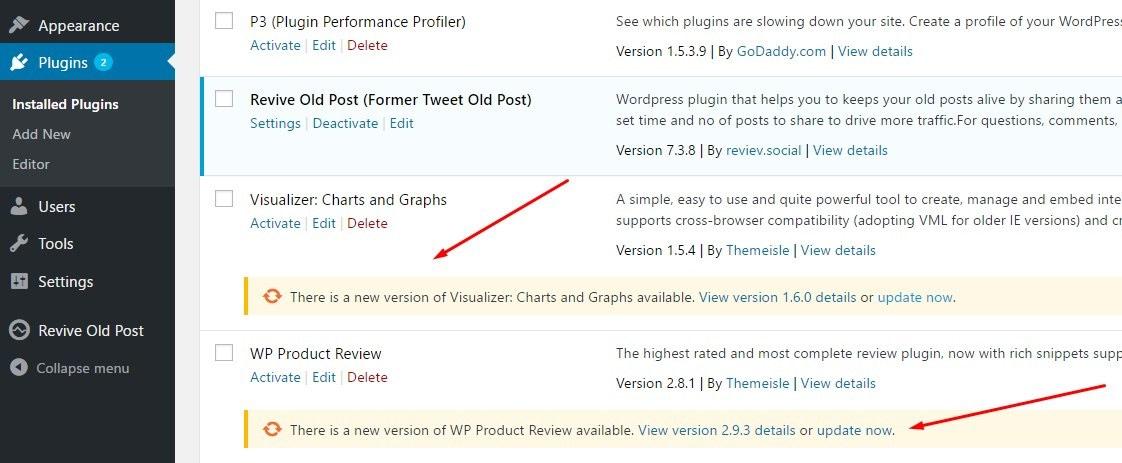 WordPress security tips: Update plugins