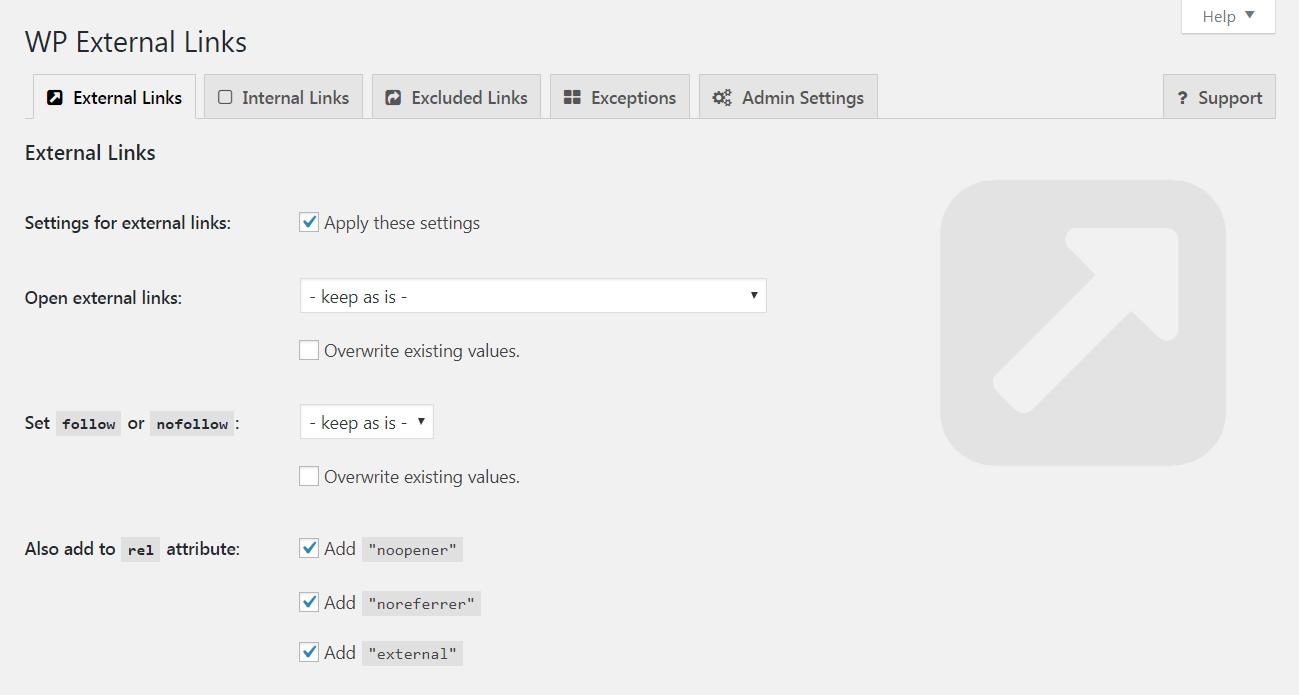 The External Links plugin settings.