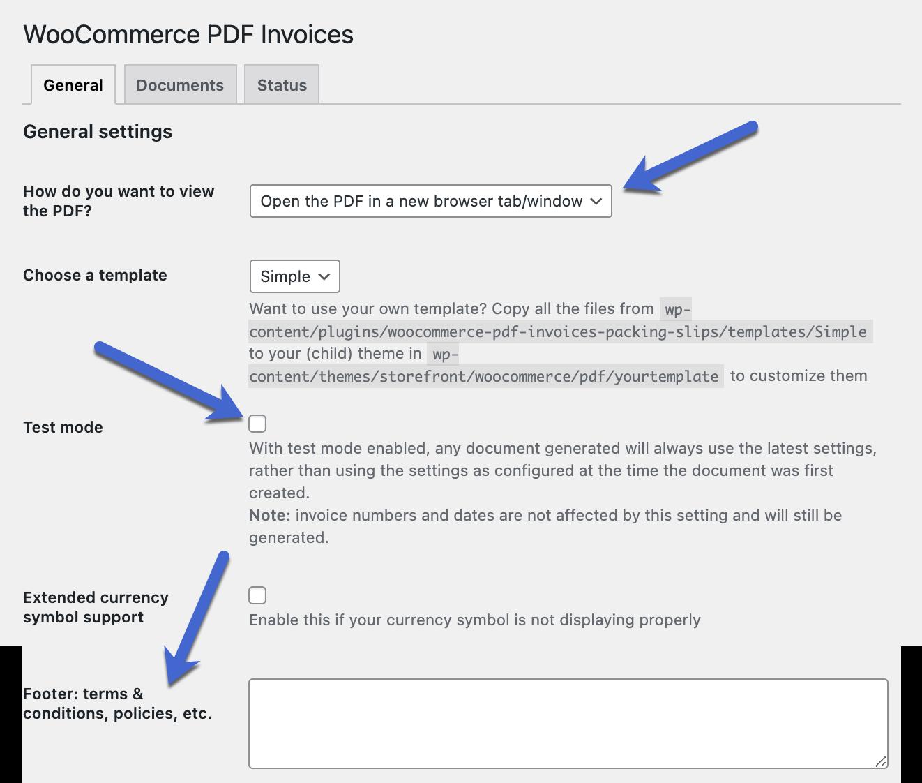 configuración para la factura de WooCommerce