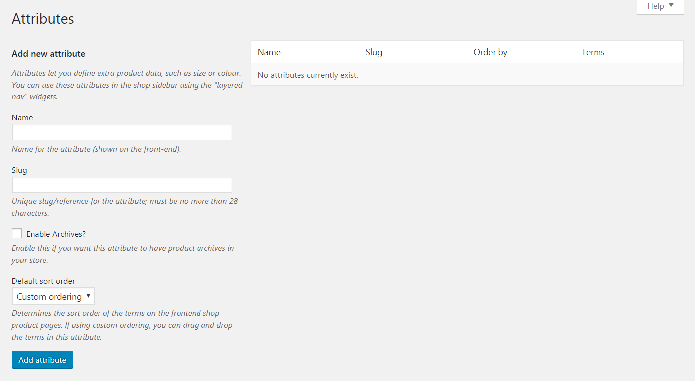 The WooCommerce Product Attributes tab.