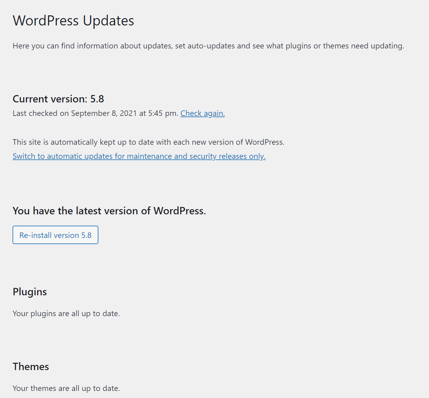 An example of summarized WordPress updates, a simple way to protect a site from XSS attacks.