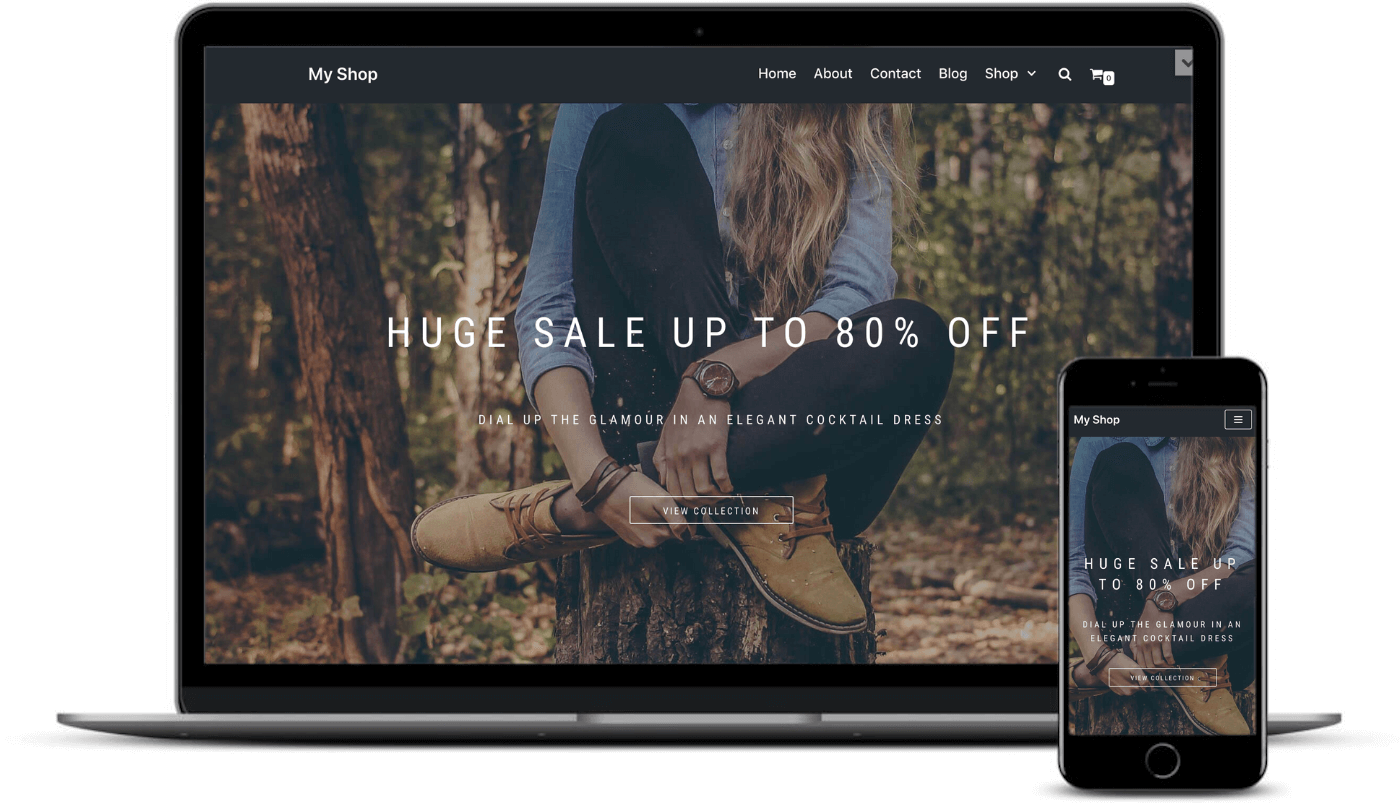 best free WooCommerce themes: The Neve Shop starter site on desktop and mobile.