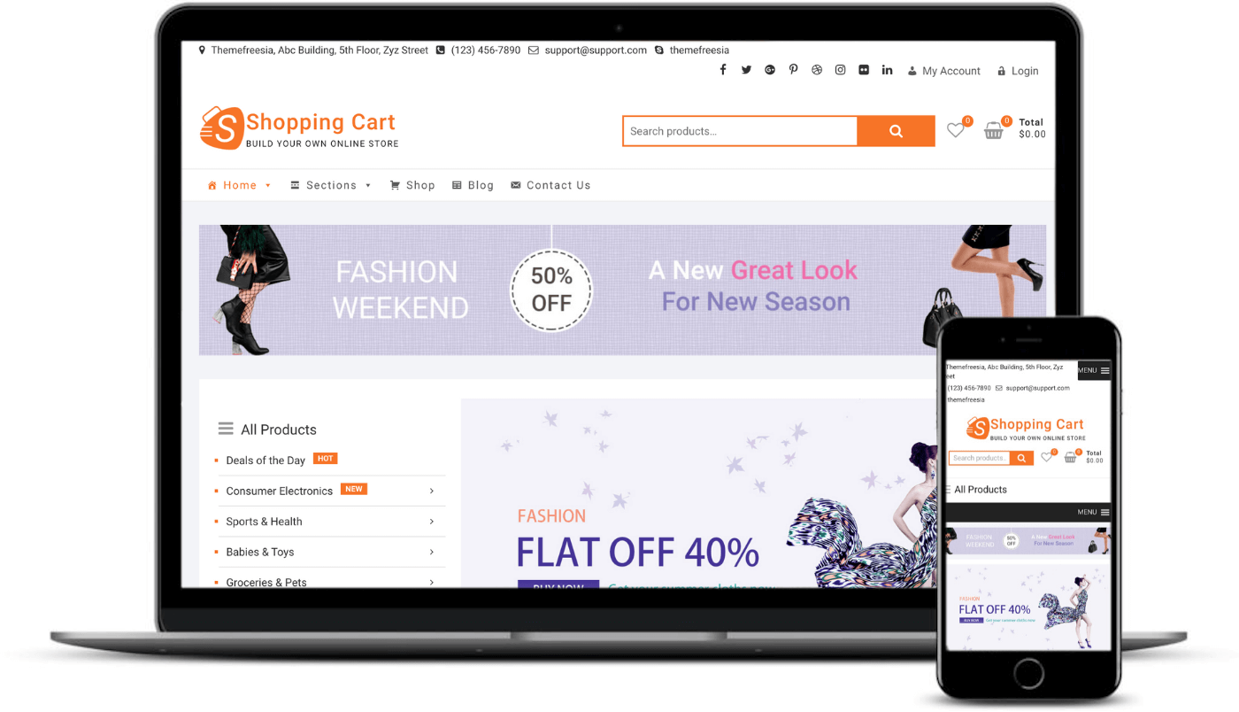The Shopping Cart theme on desktop and mobile.