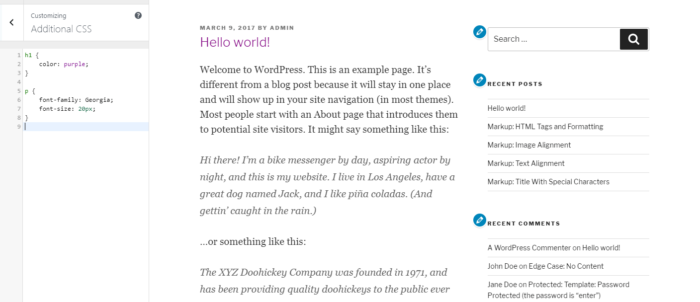 Changing a post's font type and size