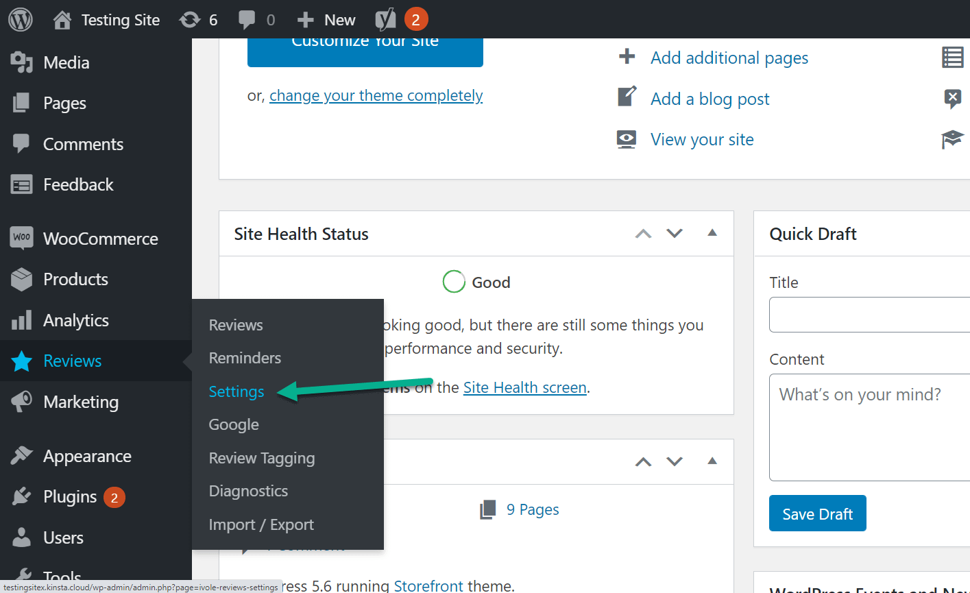 go to settings for customer reviews for WooCommerce