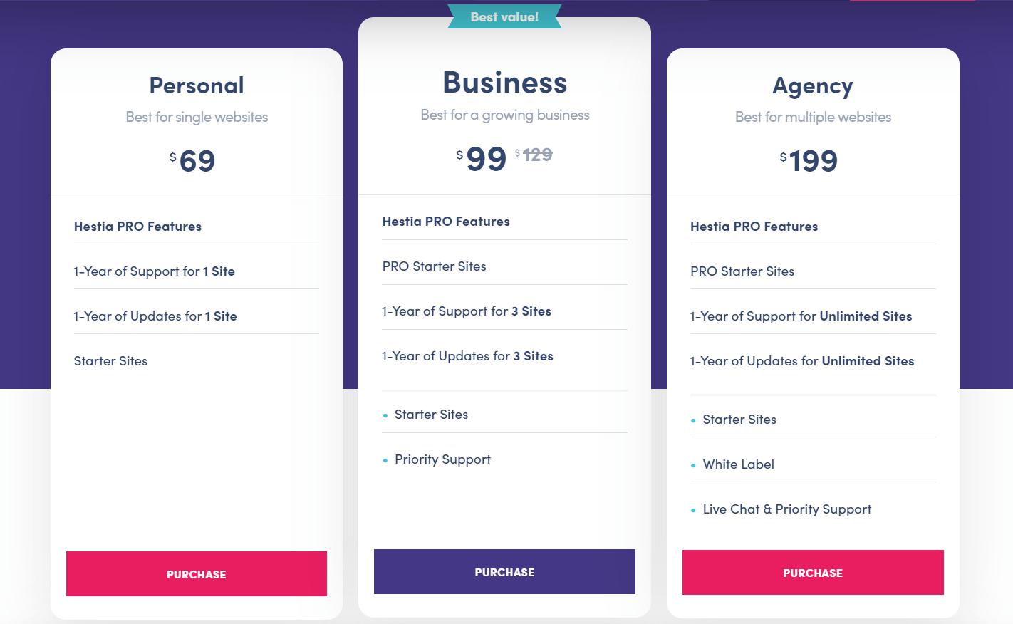 Tres variaciones de precios para Hestia Pro, que muestran cómo más funciones como con un tema personalizado de WordPress conducen a un precio más alto.