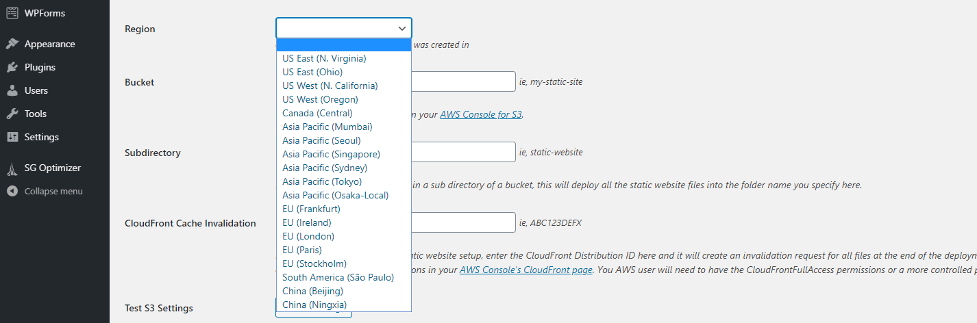 Configuring your AWS bucket's region for your headless WordPress site.