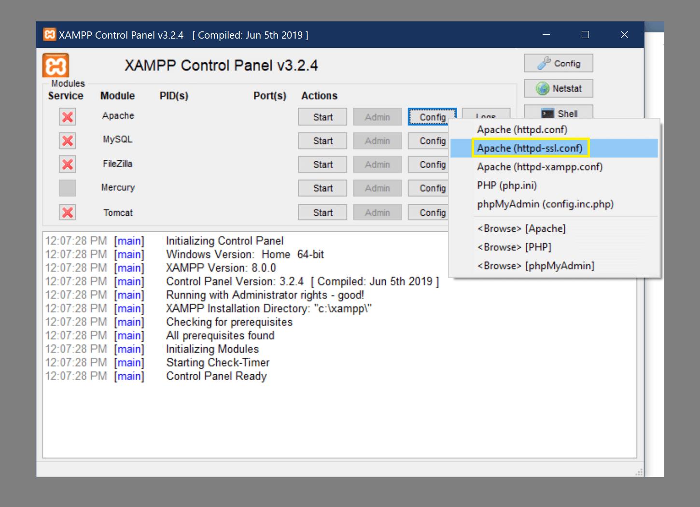 Accediendo al archivo httpd-ssl.conf de Apache.