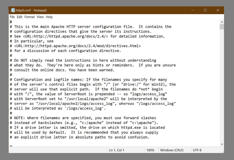 Un archivo de configuración de muestra para Apache.