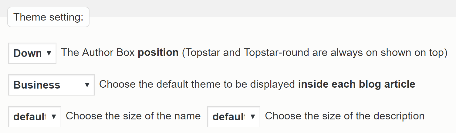The Starbox theme settings.