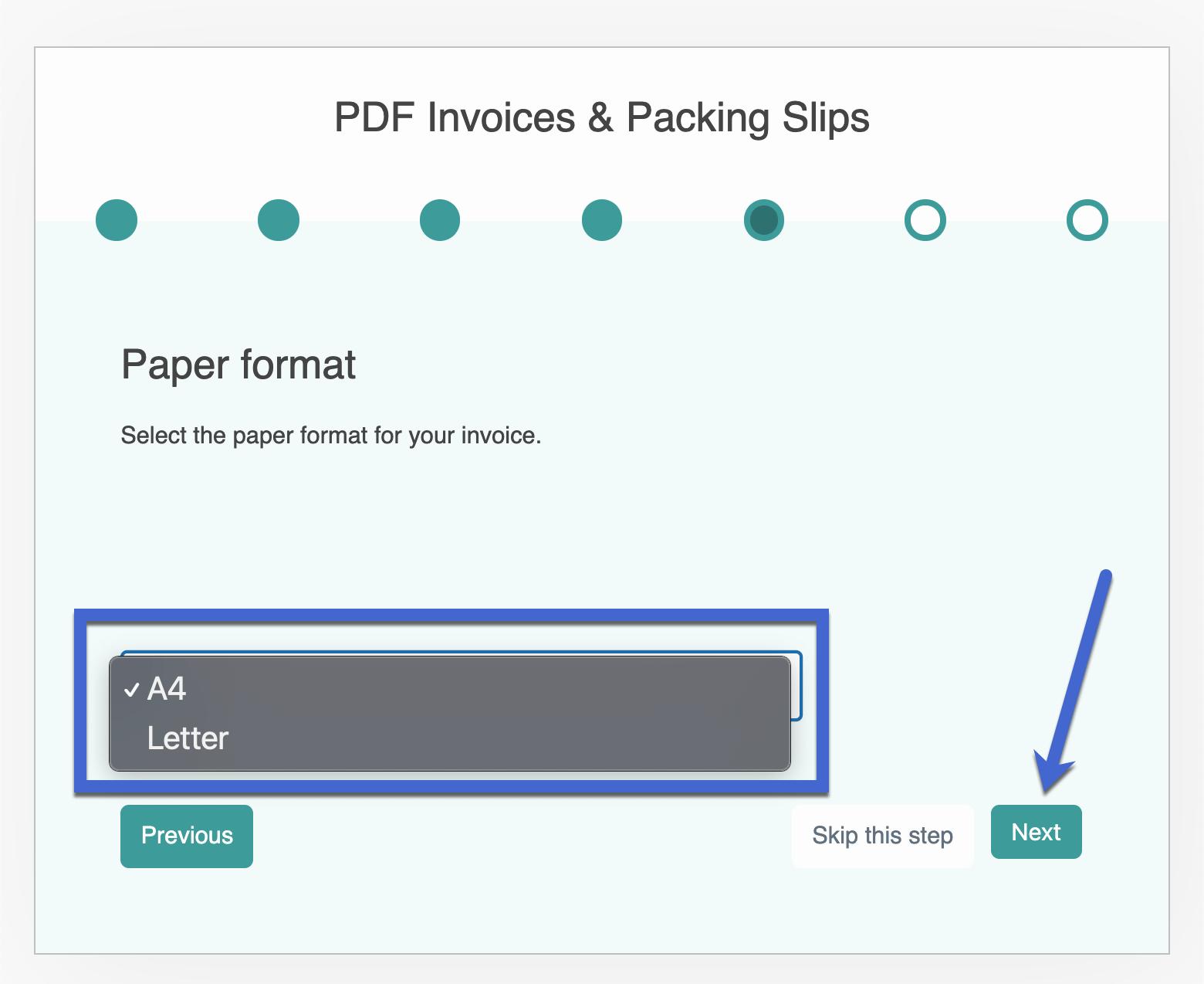 formato de papel para la factura de WooCommerce