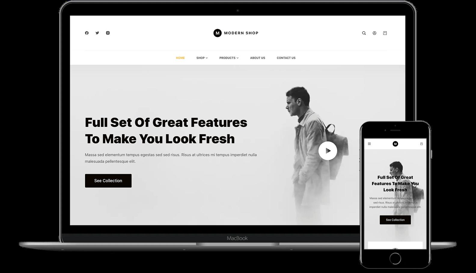 Blocksy on desktop and mobile