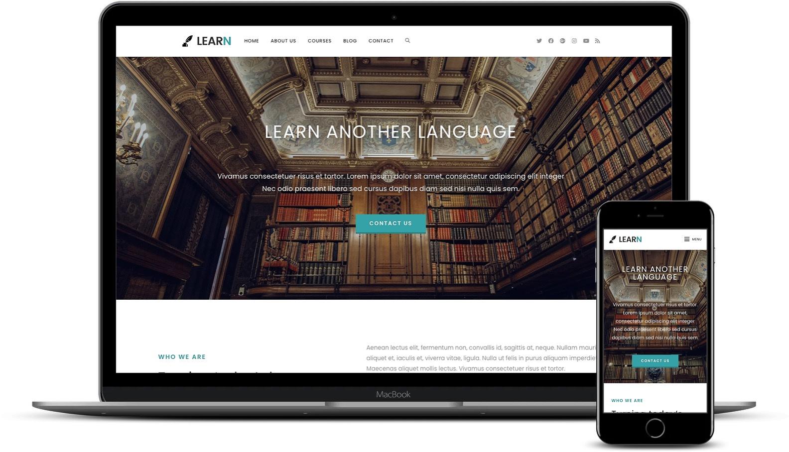 OceanWP learning starter site on desktop and mobile