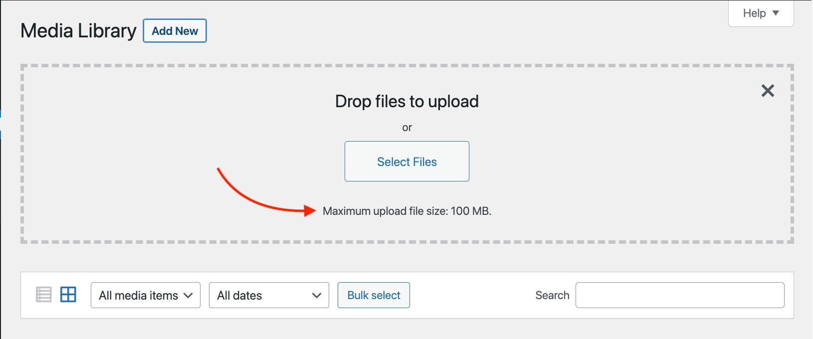 Un ejemplo del límite máximo de carga.  Superar esto puede causar uno de los errores más comunes de WordPress.