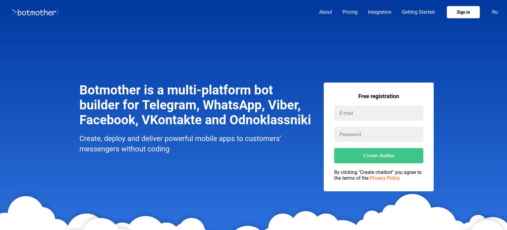 El sitio web de botmother chatbot.